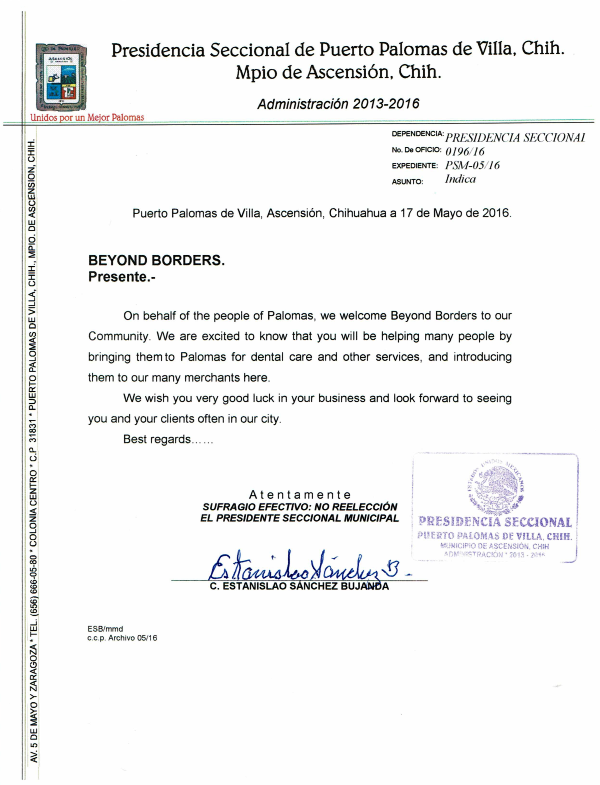 Palomas Mexico Mayor Welcome Letter